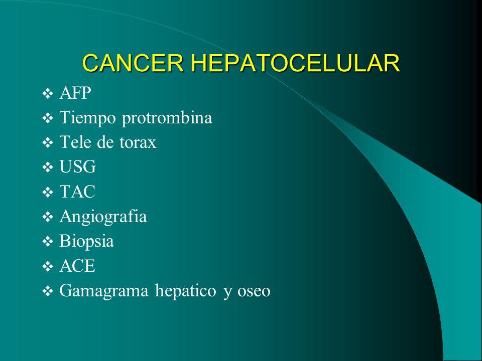 CANCER HEPATOCELULAR AFP Tiempo protrombina Tele de torax USG TAC Angiografia Biopsia ACE Gamagrama hepatico y oseo