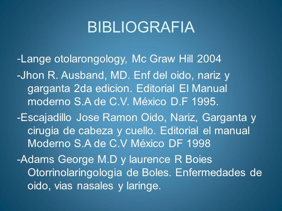BIBLIOGRAFIA - Lange otolarongology, Mc Graw Hill 2004 -Jhon R. Ausband, MD. Enf del oido, nariz y garganta 2da edicion. Editorial El Manual moderno S
