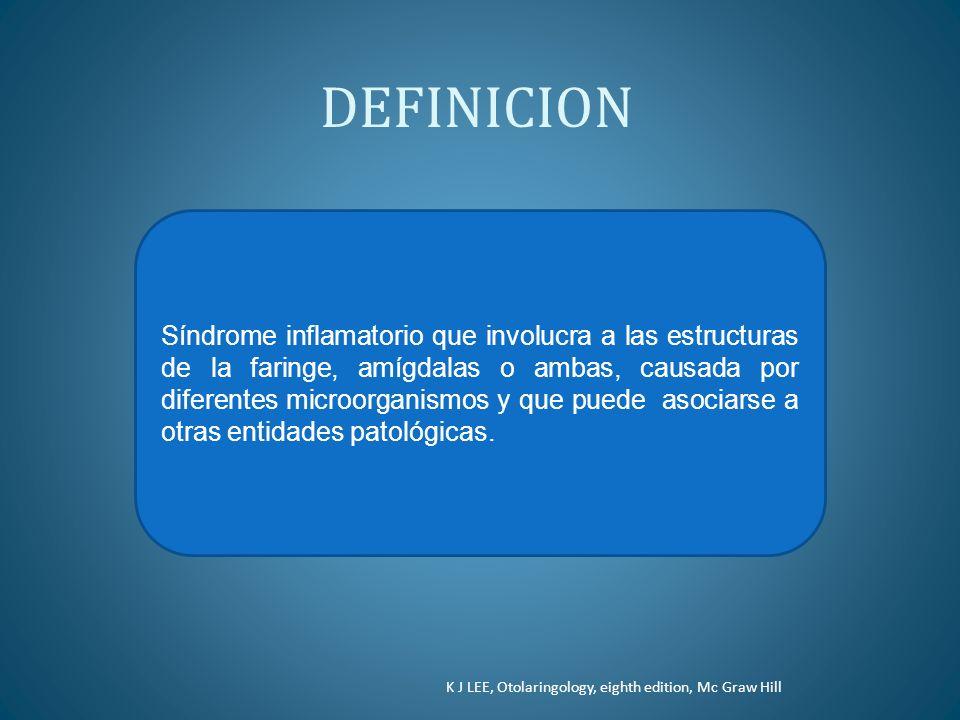 DEFINICION Síndrome inflamatorio que involucra a las estructuras de la faringe, amígdalas o ambas, causada por diferentes microorganismos y que puede