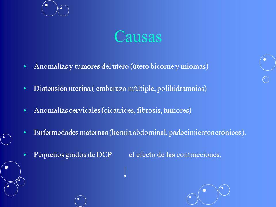 Causas Anomalías y tumores del útero (útero bicorne y miomas) Distensión uterina ( embarazo múltiple, polihidramnios) Anomalías cervicales (cicatrices, fibrosis, tumores) Enfermedades maternas (hernia abdominal, padecimientos crónicos).