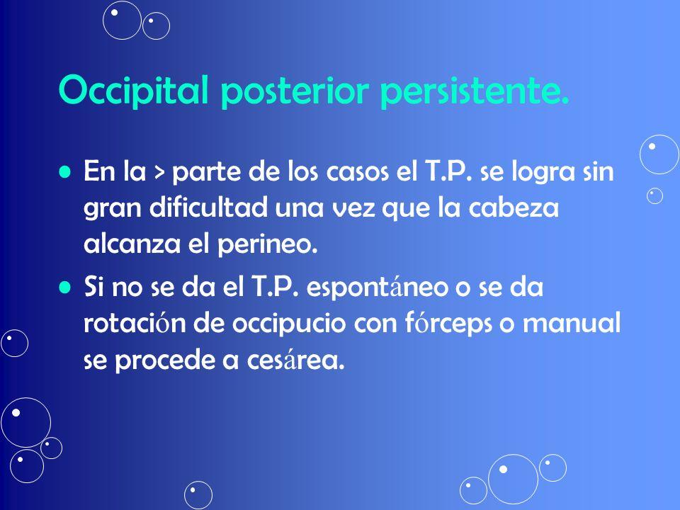 Occipital posterior persistente. En la > parte de los casos el T.P. se logra sin gran dificultad una vez que la cabeza alcanza el perineo. Si no se da