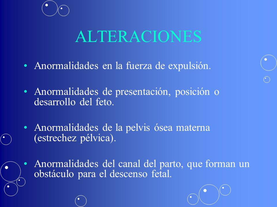 Anormalidades en la fuerza de expulsión. Anormalidades de presentación, posición o desarrollo del feto. Anormalidades de la pelvis ósea materna (estre