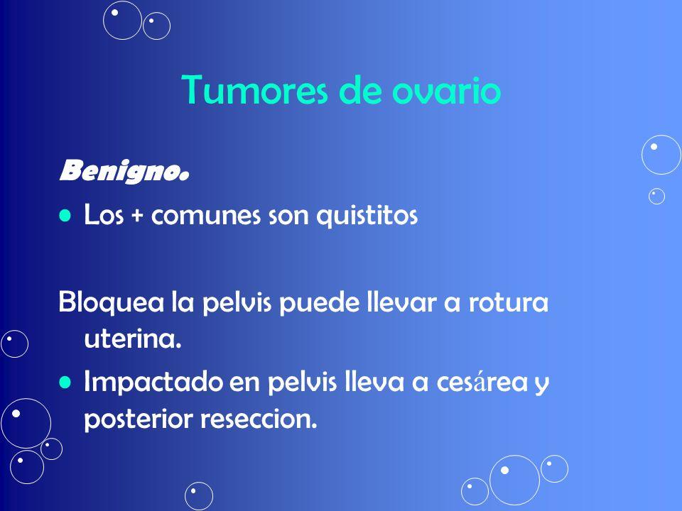 Tumores de ovario Benigno. Los + comunes son quistitos Bloquea la pelvis puede llevar a rotura uterina. Impactado en pelvis lleva a ces á rea y poster