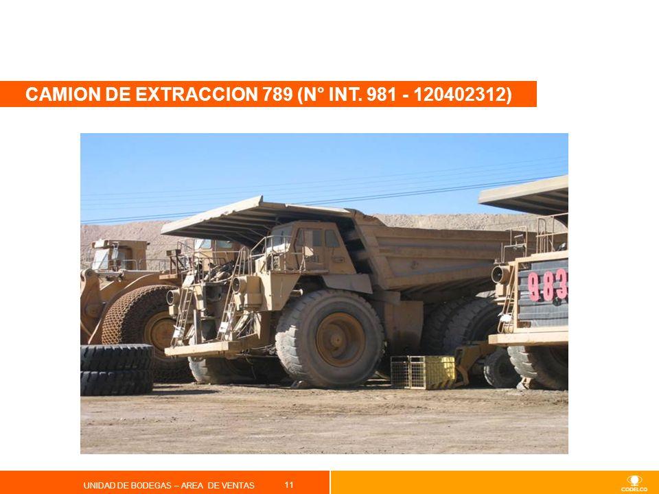 11 UNIDAD DE BODEGAS – AREA DE VENTAS CAMION DE EXTRACCION 789 (N° INT. 981 - 120402312)