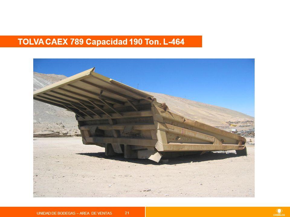 21 UNIDAD DE BODEGAS – AREA DE VENTAS TOLVA CAEX 789 Capacidad 190 Ton. L-464