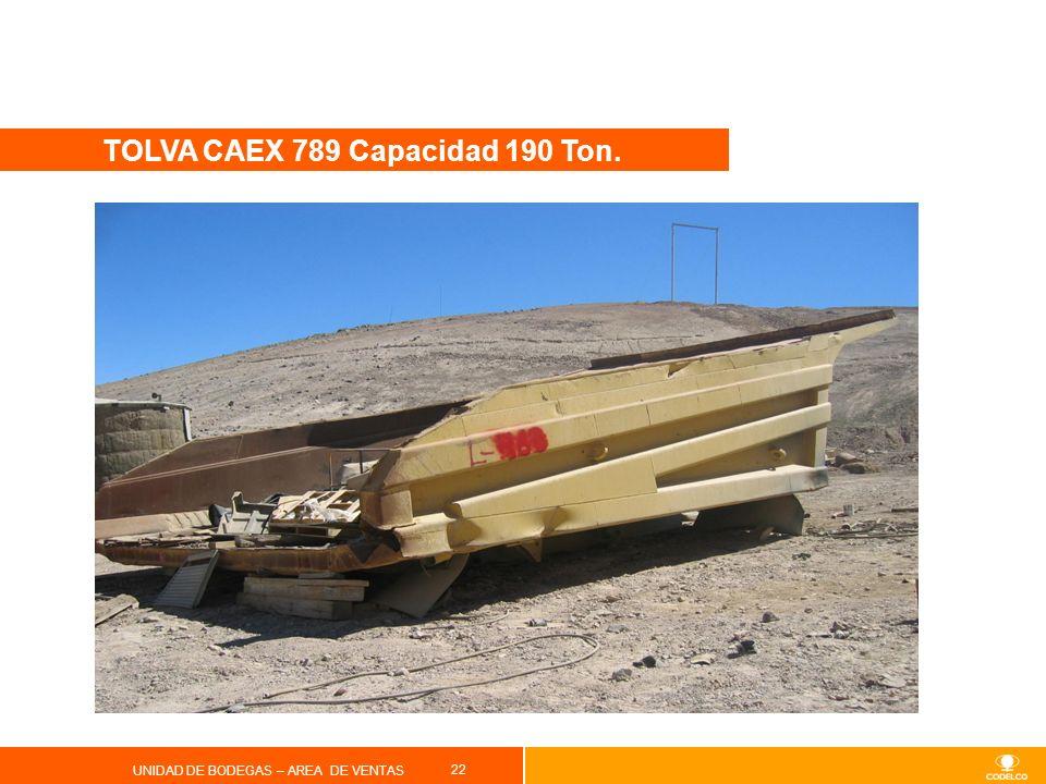 22 UNIDAD DE BODEGAS – AREA DE VENTAS TOLVA CAEX 789 Capacidad 190 Ton.
