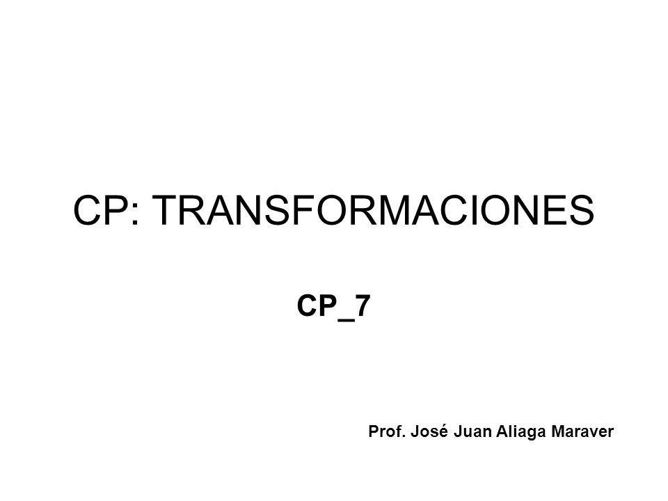 Transformaciones Homografias y correlaciones Análisis de transformaciones Clasificación Estudio Aplicaciones Producto de transformaciones