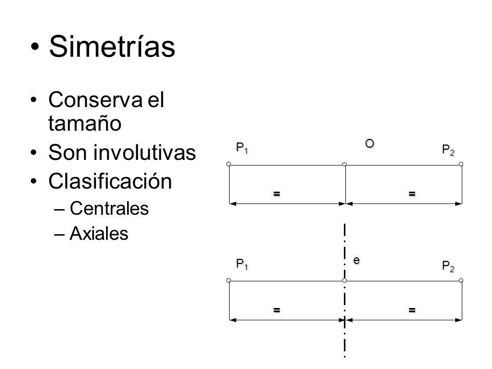 Simetrías Conserva el tamaño Son involutivas Clasificación –Centrales –AxialesO P1P1P1P1 P2P2P2P2 == e P1P1P1P1 P2P2P2P2 ==