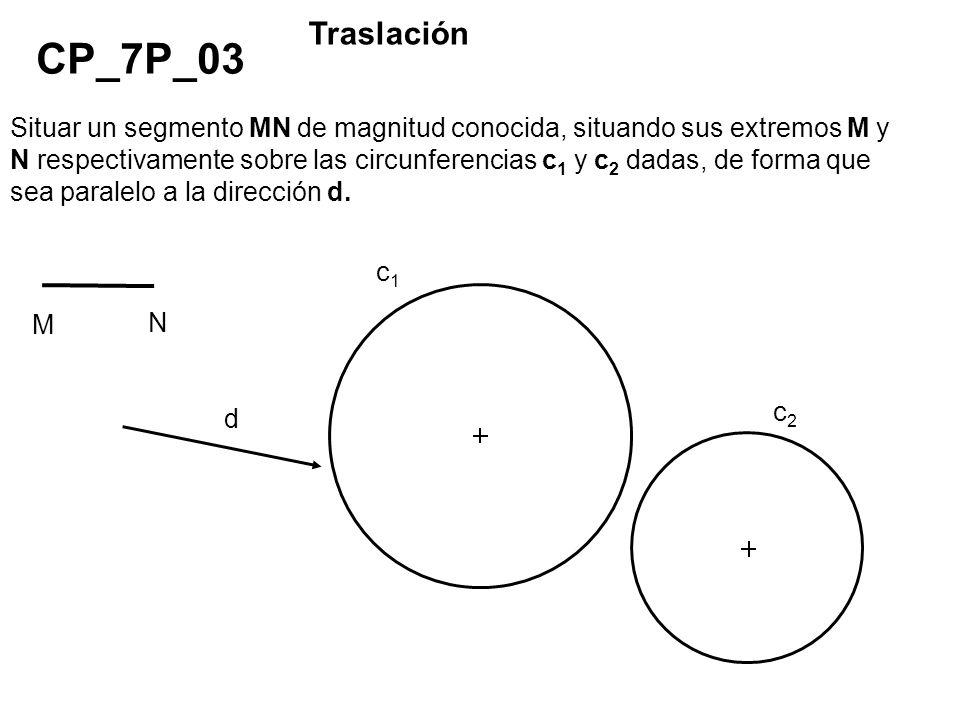 Situar un segmento MN de magnitud conocida, situando sus extremos M y N respectivamente sobre las circunferencias c 1 y c 2 dadas, de forma que sea pa