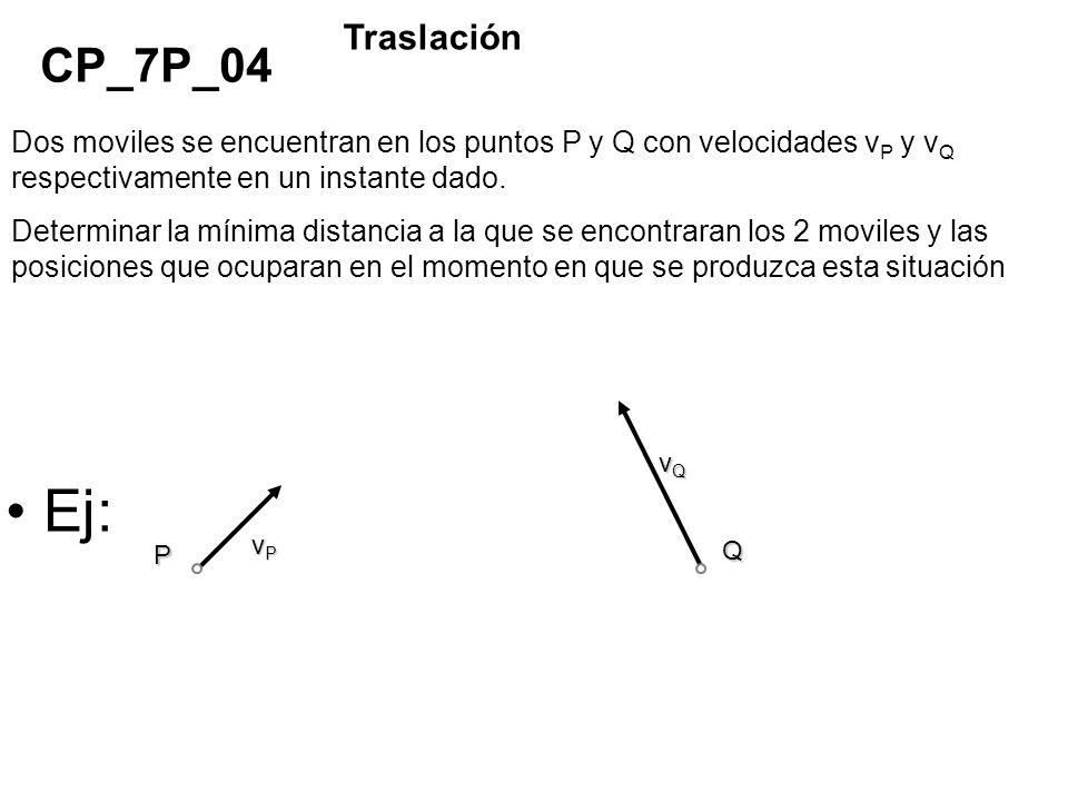Ej: vPvPvPvP vQvQvQvQ Q P Dos moviles se encuentran en los puntos P y Q con velocidades v P y v Q respectivamente en un instante dado. Determinar la m