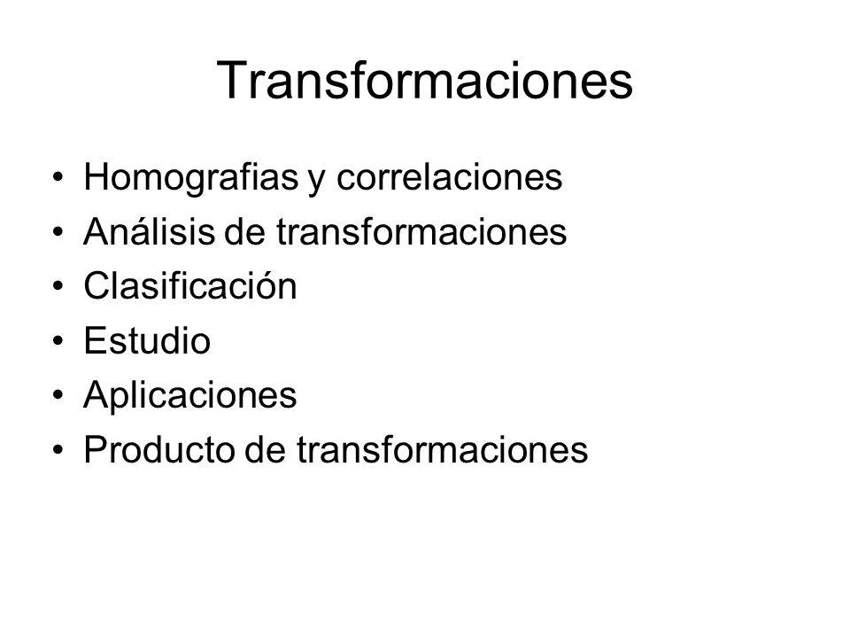 Homografias Una homografía es una transformación que conserva la naturaleza de los elementos transformados.