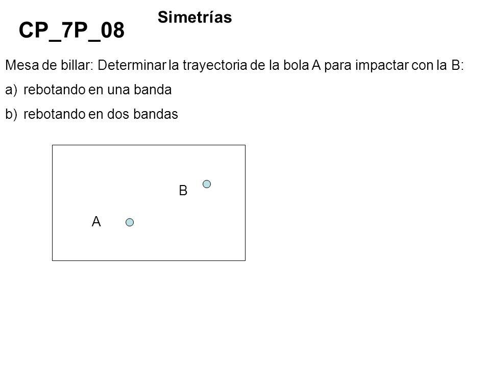 Mesa de billar: Determinar la trayectoria de la bola A para impactar con la B: a)rebotando en una banda b)rebotando en dos bandas CP_7P_08 Simetrías A