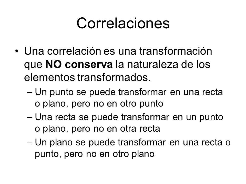 Correlaciones Una correlación es una transformación que NO conserva la naturaleza de los elementos transformados. –Un punto se puede transformar en un