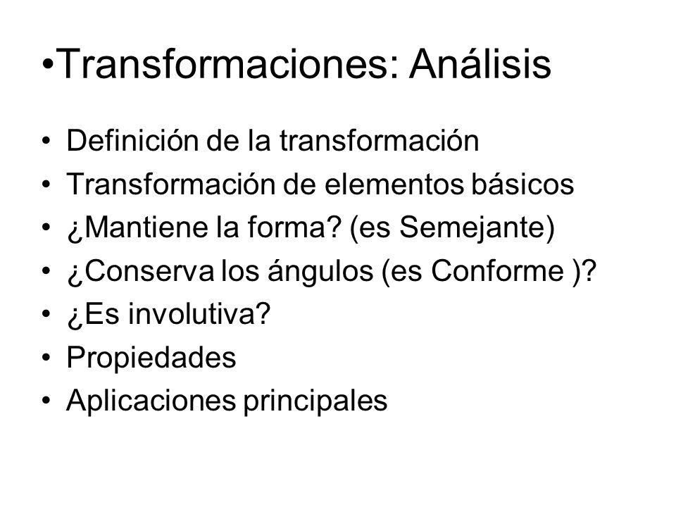 Transformaciones: Análisis Definición de la transformación Transformación de elementos básicos ¿Mantiene la forma? (es Semejante) ¿Conserva los ángulo