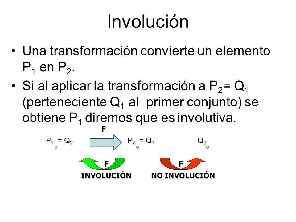 Involución Una transformación convierte un elemento P 1 en P 2. P1P1P1P1 P2P2P2P2 = Q 1 F Q2Q2Q2Q2 F F = Q 2 INVOLUCIÓN NO INVOLUCIÓN Si al aplicar la