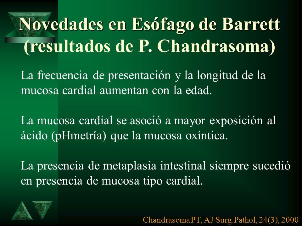 Metaplasia intestinal Islotes de epitelio gástrico Metaplasia cardiaI Saco herniario Metaplasia fúndica. Dr. J VALERIO U. INNSZ, 1999 ESOFAGO DE BARRE