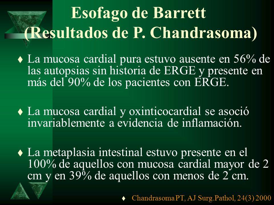 NOVEDADES ESOFAGO BARRETT NOVEDADES ESOFAGO BARRETT (Conclusiones de Chandrasoma) t La mucosa cardial es una lesión adquirida asociada a reflujo gastr