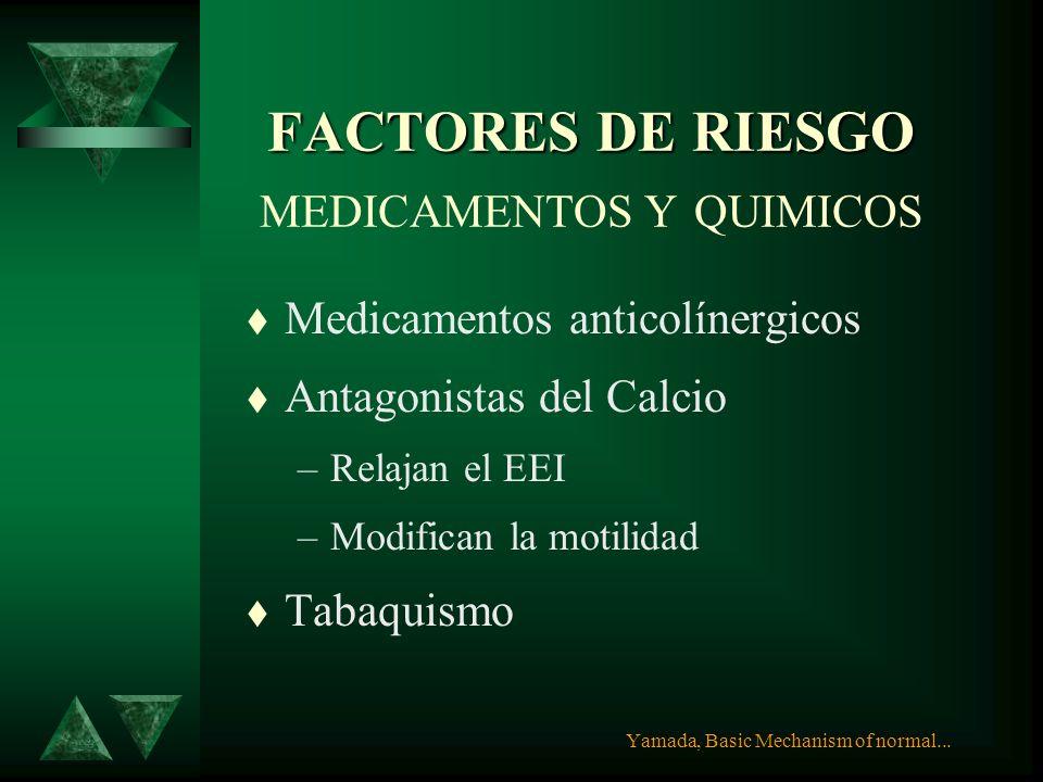 FACTORES DE RIESGO ESOFAGITIS FACTORES DE RIESGO ESOFAGITIS OTRAS CONDICIONES t Hipersecreción ácida o alcalina t Esclerodermia t Enf. Mixta de Tej. C