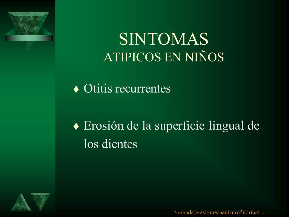 SINTOMAS ATIPICOS t Disfonía 78% ERGE t Tirantez en garganta t Asma82 % ERGE t Tos t Hipo t Ronquera o disfonía matutina Yamada, Basic mechanism of no