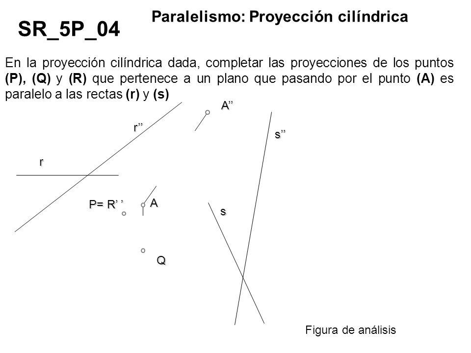 En la proyección cilíndrica dada, completar las proyecciones de los puntos (P), (Q) y (R) que pertenece a un plano que pasando por el punto (A) es par