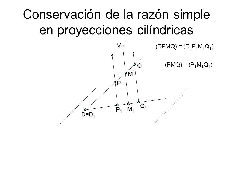 Conservación de la razón simple en proyecciones cilíndricas V P Q1Q1Q1Q1 Q P1P1P1P1 M M1M1M1M1 (DPMQ) = (D 1 P 1 M 1 Q 1 ) D=D 1 (PMQ) = (P 1 M 1 Q 1