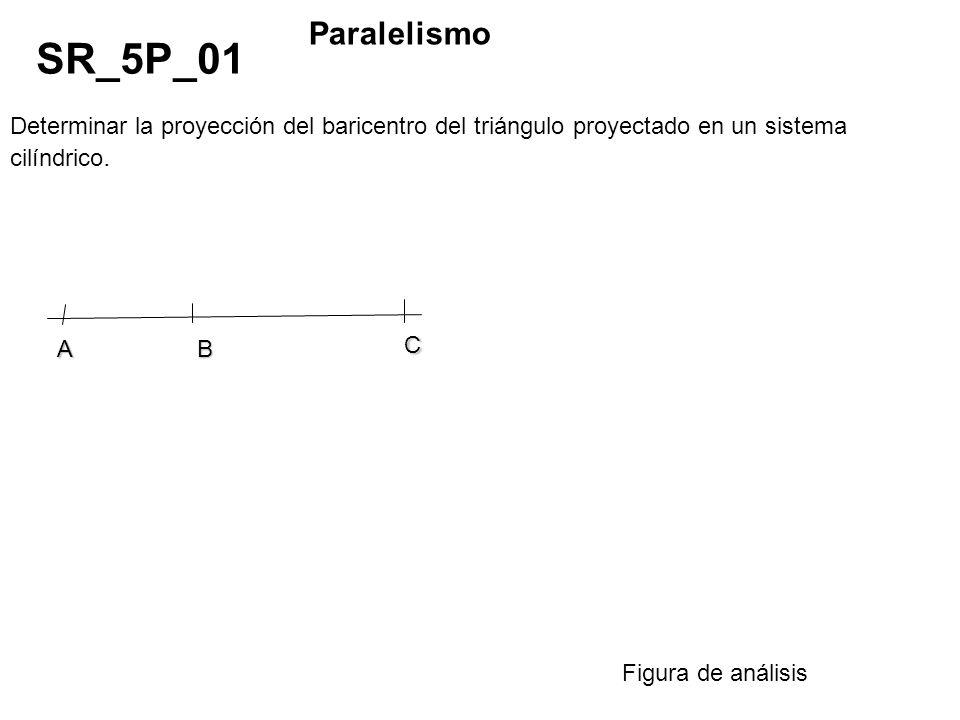 Determinar la proyección del baricentro del triángulo proyectado en un sistema cilíndrico. SR_5P_01 Paralelismo Figura de análisis AB C