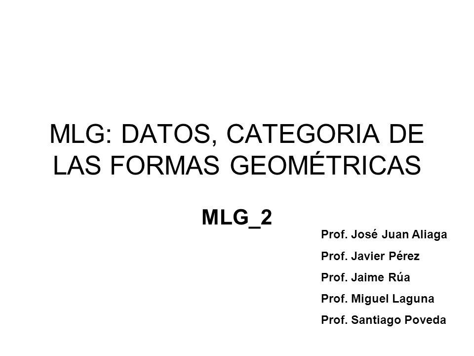 MLG: DATOS, CATEGORIA DE LAS FORMAS GEOMÉTRICAS MLG_2 Prof. José Juan Aliaga Prof. Javier Pérez Prof. Jaime Rúa Prof. Miguel Laguna Prof. Santiago Pov