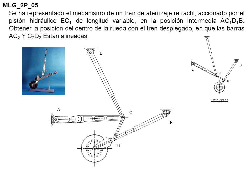 Se ha representado el mecanismo de un tren de aterrizaje retráctil, accionado por el pistón hidráulico EC 1 de longitud variable, en la posición inter