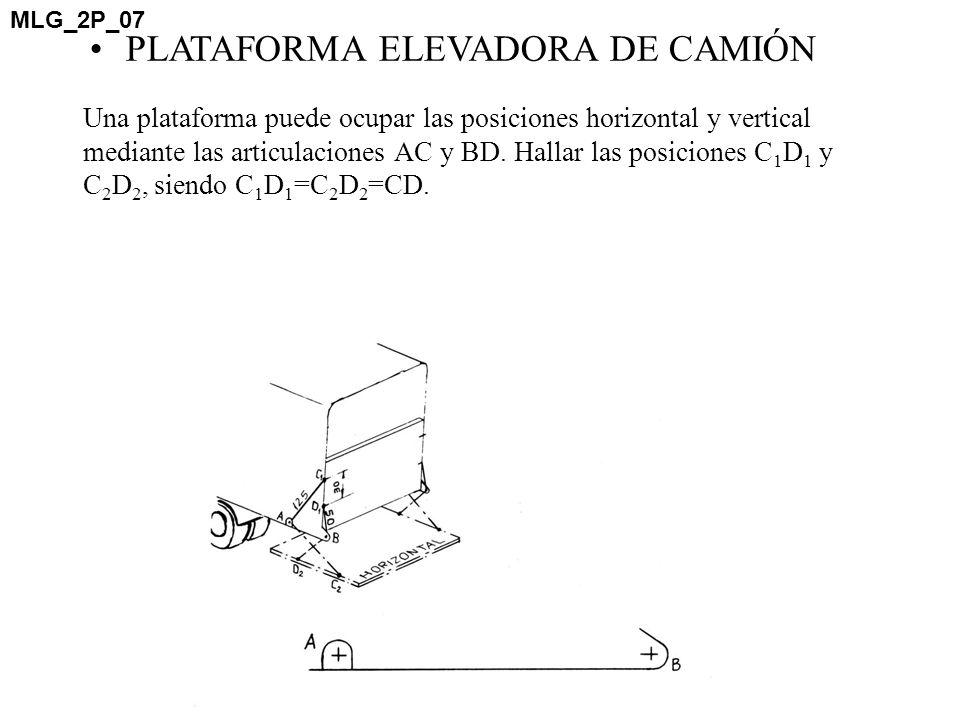 Una plataforma puede ocupar las posiciones horizontal y vertical mediante las articulaciones AC y BD. Hallar las posiciones C 1 D 1 y C 2 D 2, siendo