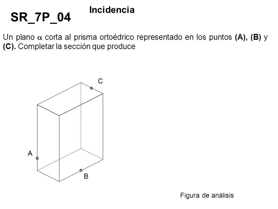 Un plano corta al prisma ortoédrico representado en los puntos (A), (B) y (C). Completar la sección que produce SR_7P_04 Incidencia Figura de análisis