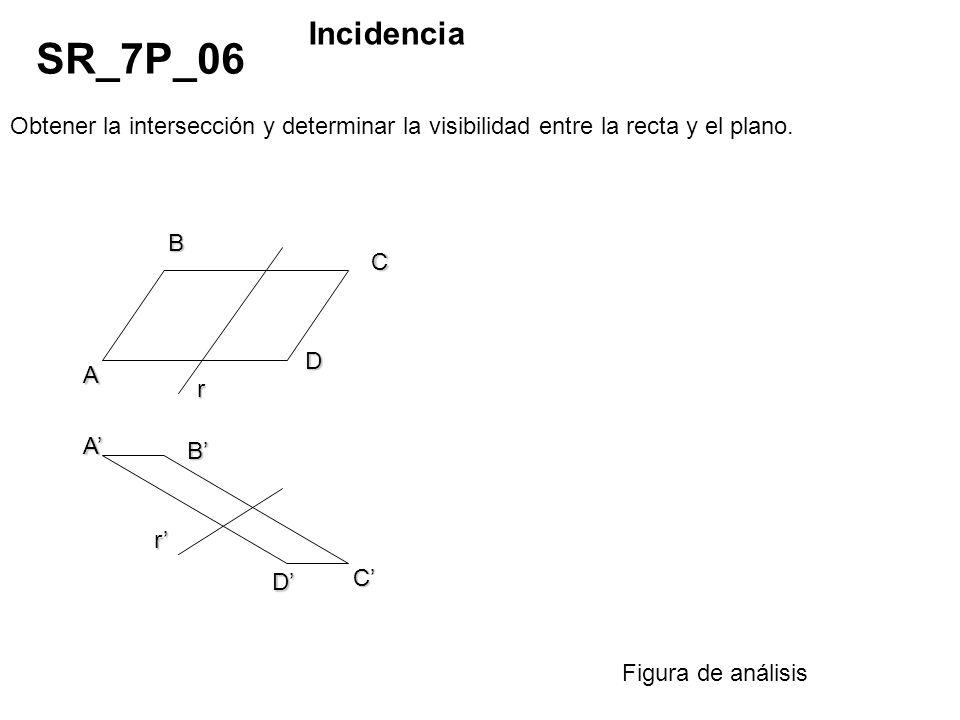 Obtener la intersección y determinar la visibilidad entre la recta y el plano. SR_7P_06 Incidencia Figura de análisis r A B D C D C B A r