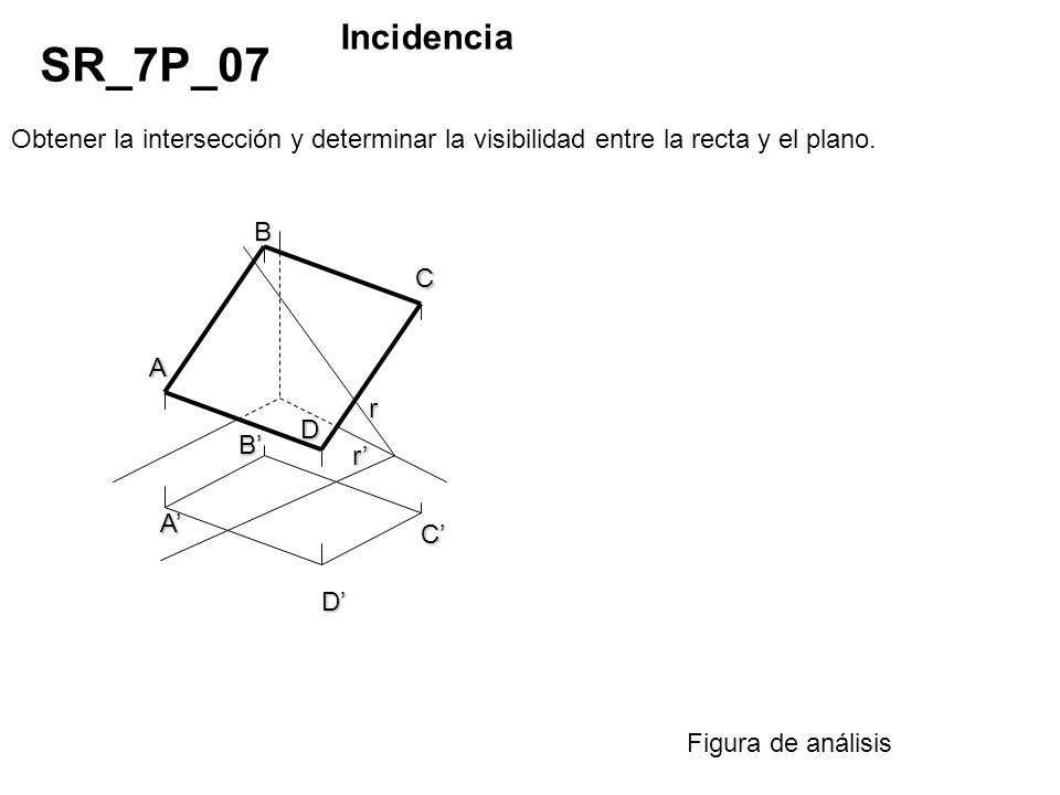 Obtener la intersección y determinar la visibilidad entre la recta y el plano. SR_7P_07 Incidencia Figura de análisis D B A C r r C D B A