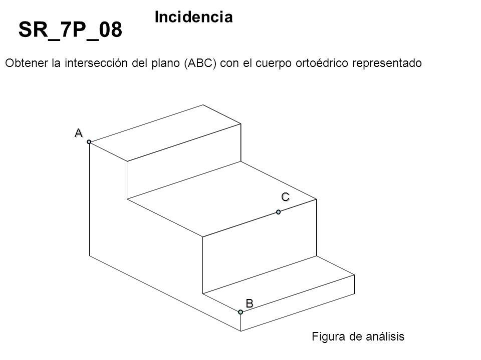 Obtener la intersección del plano (ABC) con el cuerpo ortoédrico representado SR_7P_08 Incidencia Figura de análisis A C B