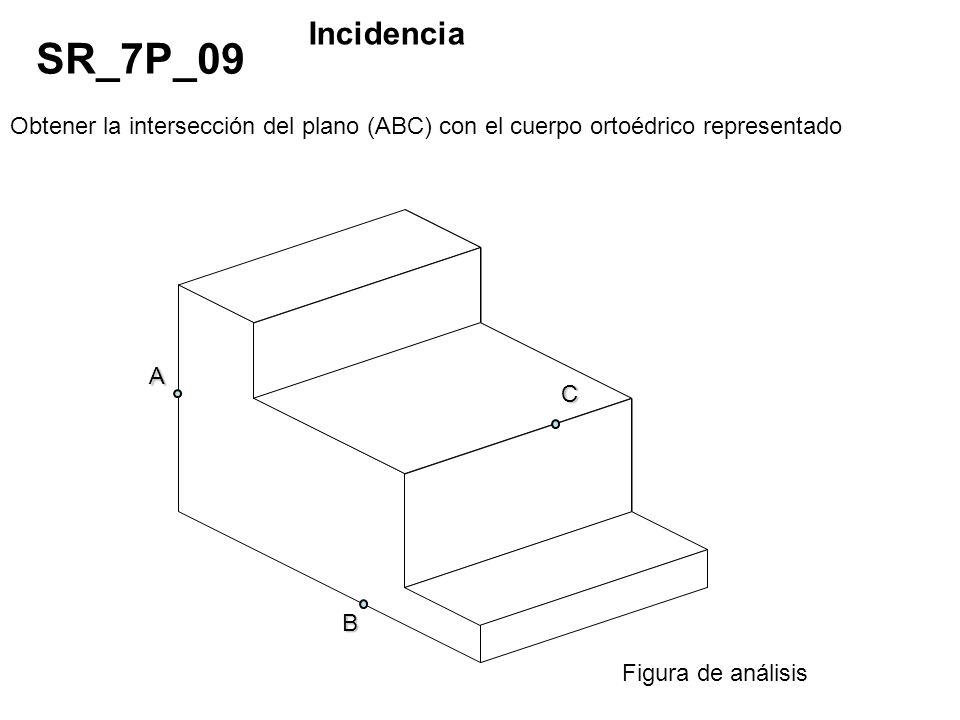 Obtener la intersección del plano (ABC) con el cuerpo ortoédrico representado SR_7P_09 Incidencia Figura de análisis A C B