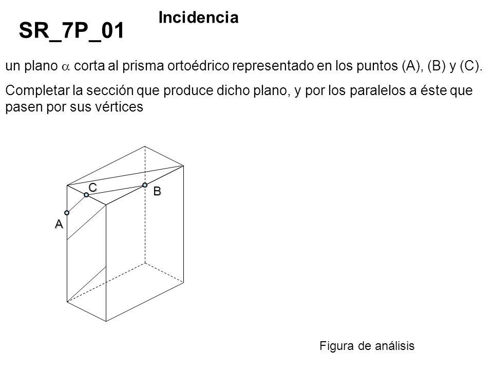 un plano corta al prisma ortoédrico representado en los puntos (A), (B) y (C). Completar la sección que produce dicho plano, y por los paralelos a ést