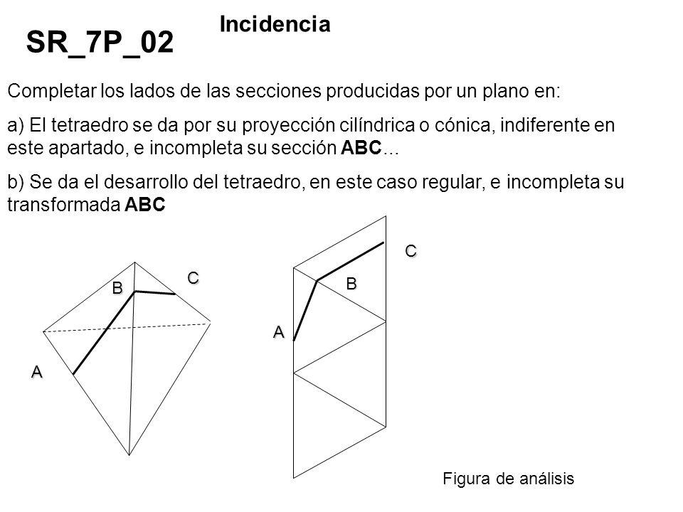 Completar los lados de las secciones producidas por un plano en: a) El tetraedro se da por su proyección cilíndrica o cónica, indiferente en este apar