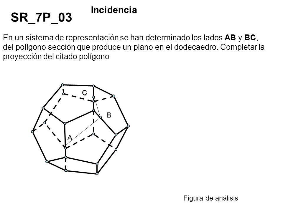 En un sistema de representación se han determinado los lados AB y BC, del polígono sección que produce un plano en el dodecaedro. Completar la proyecc