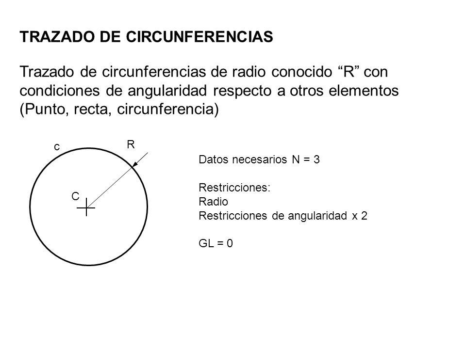 R Trazado de circunferencias de radio conocido R con condiciones de angularidad respecto a otros elementos (Punto, recta, circunferencia) TRAZADO DE C