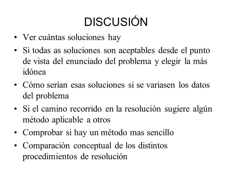 DISCUSIÓN Ver cuántas soluciones hay Si todas as soluciones son aceptables desde el punto de vista del enunciado del problema y elegir la más idónea C