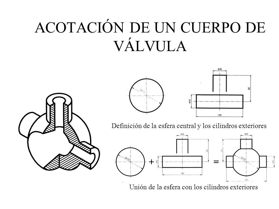 Definición de la esfera central y los cilindros exteriores Unión de la esfera con los cilindros exteriores ACOTACIÓN DE UN CUERPO DE VÁLVULA