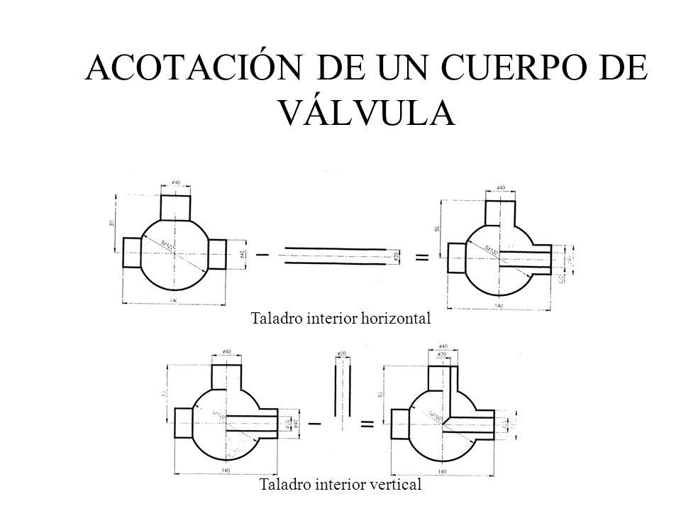 Taladro interior horizontal Taladro interior vertical ACOTACIÓN DE UN CUERPO DE VÁLVULA