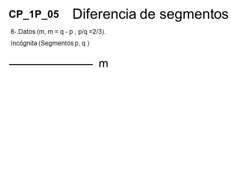 Diferencia de segmentos 8-.Datos (m, m = q - p, p/q =2/3). Incógnita (Segmentos p, q ) CP_1P_05 m