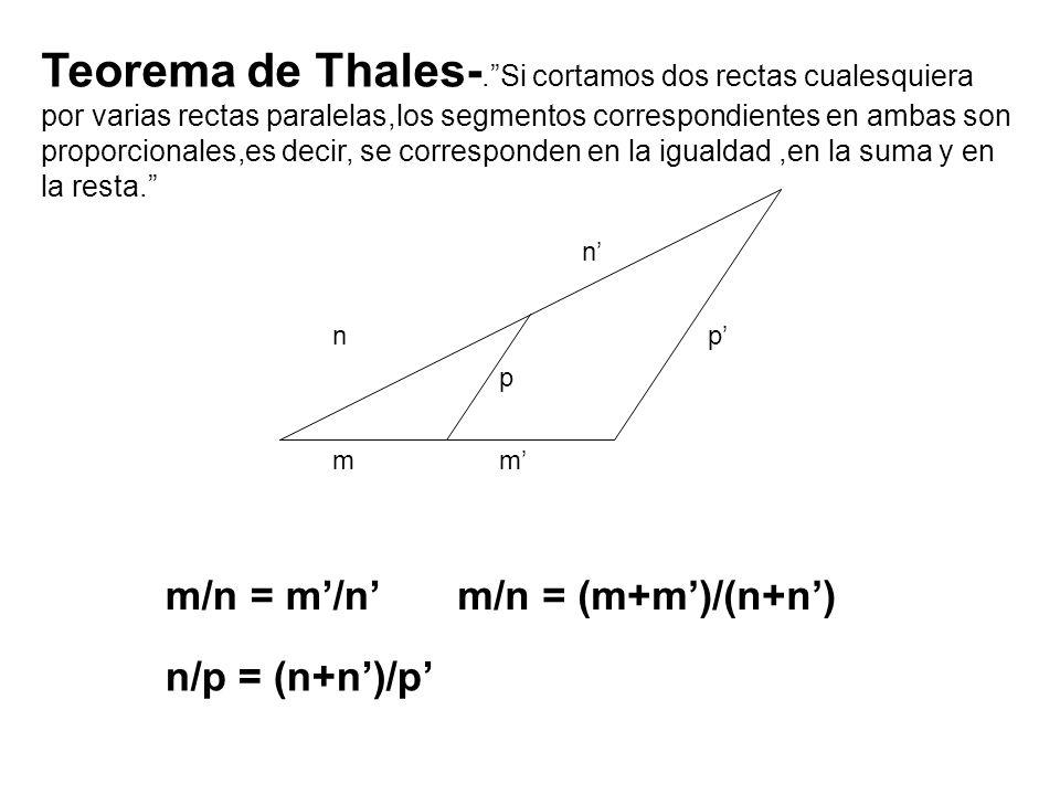 mm n n p p m/n = m/n n/p = (n+n)/p m/n = (m+m)/(n+n) Teorema de Thales-.Si cortamos dos rectas cualesquiera por varias rectas paralelas,los segmentos