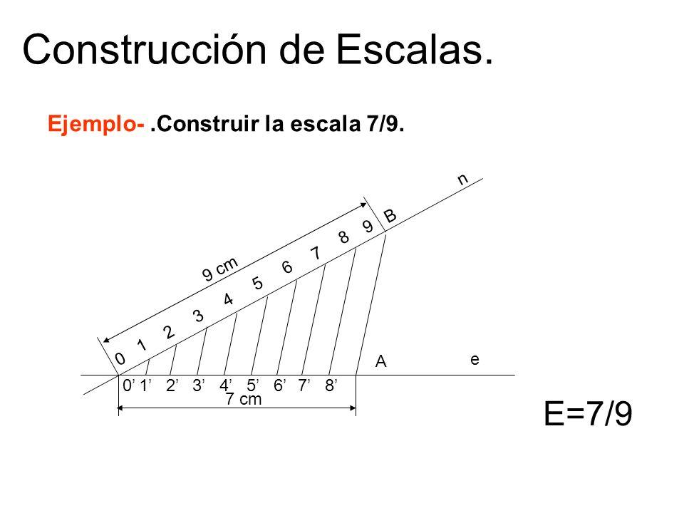 Construcción de Escalas. E=7/9 Ejemplo-.Construir la escala 7/9. 9 cm 7 cm 0 1 2 3 4 5 6 7 8 9 B 012345678 A n e