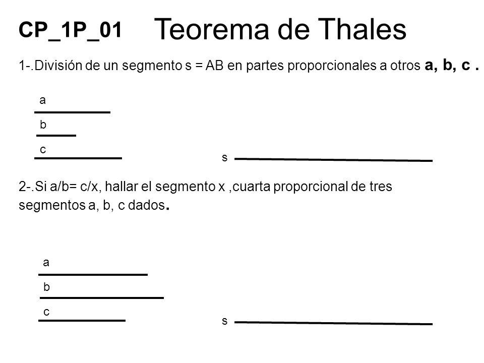Teorema de Thales 2-.Si a/b= c/x, hallar el segmento x,cuarta proporcional de tres segmentos a, b, c dados. a c b s a c b s 1-.División de un segmento