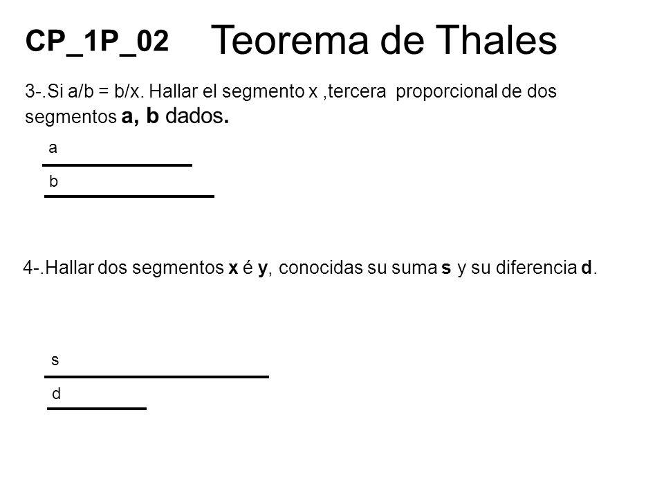 Teorema de Thales 4-.Hallar dos segmentos x é y, conocidas su suma s y su diferencia d. a b 3-.Si a/b = b/x. Hallar el segmento x,tercera proporcional