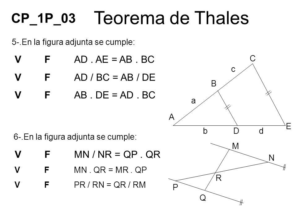 Teorema de Thales 5-.En la figura adjunta se cumple: VFAD. AE = AB. BC VFAD / BC = AB / DE VFAB. DE = AD. BC 6-.En la figura adjunta se cumple: VFMN /