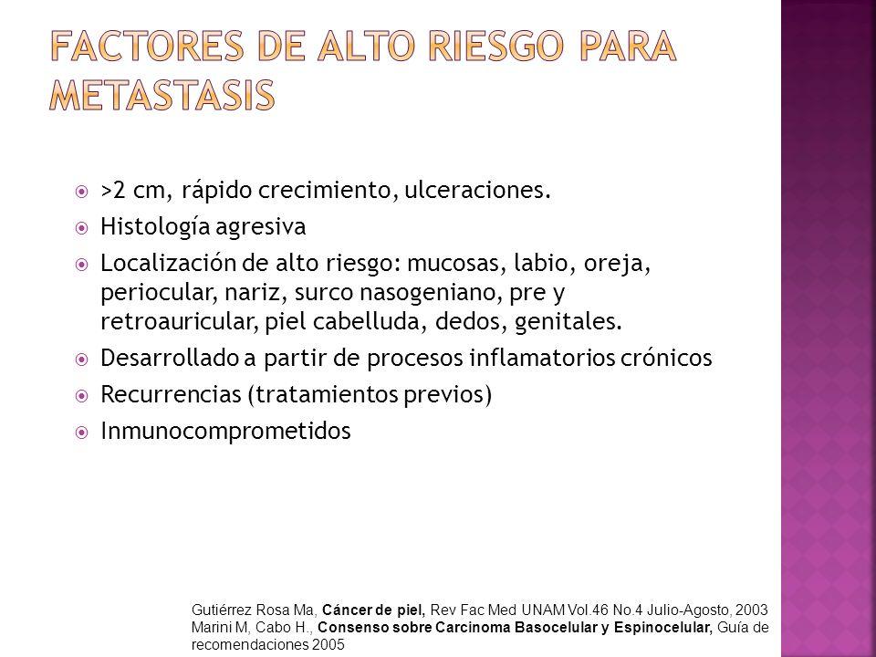 >2 cm, rápido crecimiento, ulceraciones. Histología agresiva Localización de alto riesgo: mucosas, labio, oreja, periocular, nariz, surco nasogeniano,