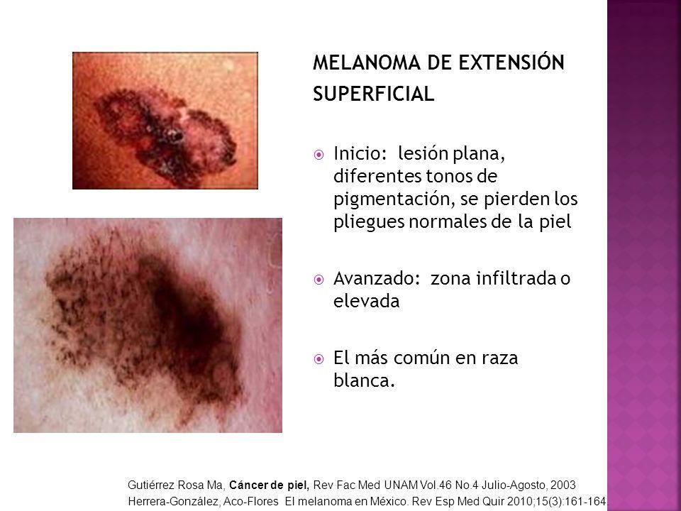 MELANOMA DE EXTENSIÓN SUPERFICIAL Inicio: lesión plana, diferentes tonos de pigmentación, se pierden los pliegues normales de la piel Avanzado: zona i