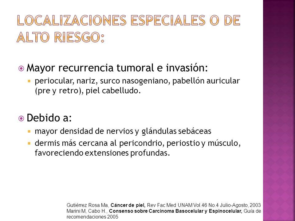 Mayor recurrencia tumoral e invasión: periocular, nariz, surco nasogeniano, pabellón auricular (pre y retro), piel cabelludo. Debido a: mayor densidad